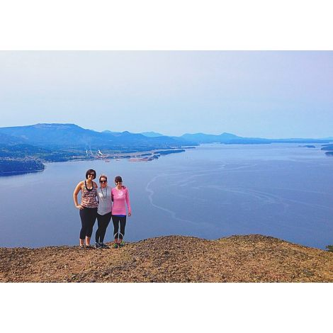 Mara, Sara, and Sara's friend Emily on the peak of Mount Erskine - Salt Spring Island